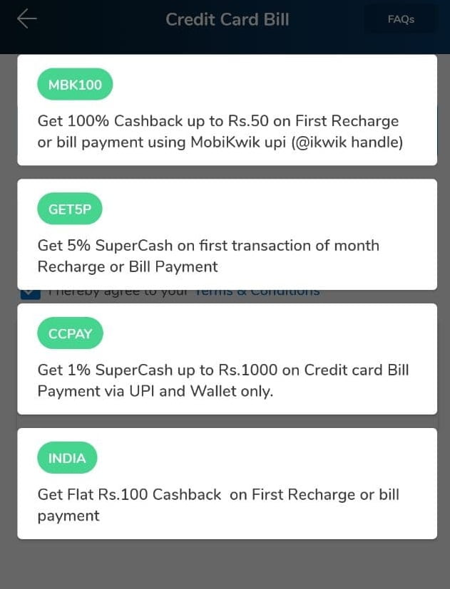 mobikwik credit card payment offers