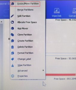 AOMEI Partition select operation